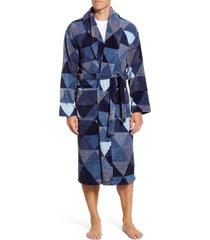 men's majestic international posh plush robe, size large/x-large - blue
