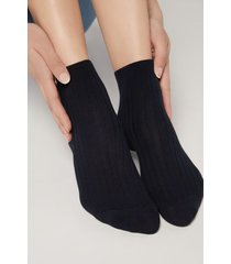 calzedonia short ribbed socks with cotton and cashmere woman blue size 39-41