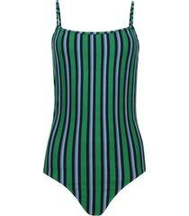 body mujer tiras a rayas color verde, talla 8