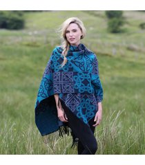 fringed irish shawl with celtic design blue