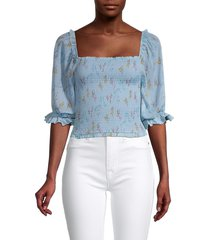 allison new york women's puff-sleeve smock top - blue floral - size m