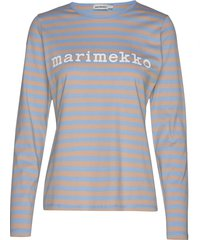 logo mari shirt t-shirts & tops long-sleeved blauw marimekko
