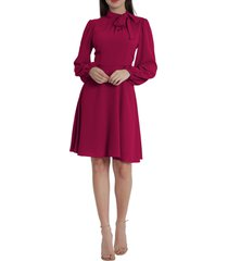 maggy london catalina tie neck long sleeve fit & flare crepe dress, size 14regular in sangria at nordstrom