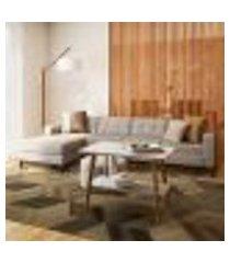 sofá 4 lugares calmness com chaise esquerdo pés e base em madeira linho cotton cru