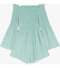 womens rest a-shirred off-the-shoulder spotty romper - sage