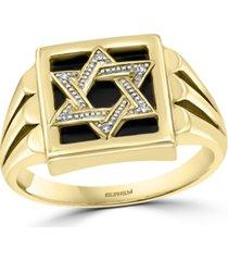 effy men's onyx & diamond accent star of david ring in 14k gold