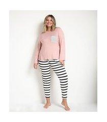 pijama blusa manga longa e calça em viscolycra curve & plus size | ashua curve e plus size | rosa | gg