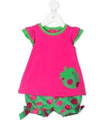 colorichiari polka dot strawberry-print shorts set - pink