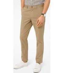 mk pantalone chino slim-fit in in popeline delavé - cachi (naturale) - michael kors