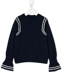 emile et ida flared sleeves sweater - blue