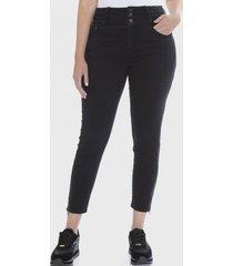 jeans pitillo 3 botones negro lorenzo di pontti