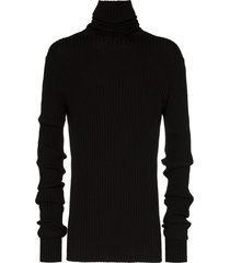 ann demeulemeester exaggerated-sleeve ribbed sweater - black