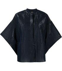 aspesi crinkle-effect shirt - blue