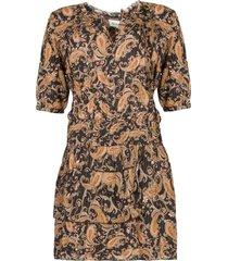 jurk met paisleyprint flori  bruin