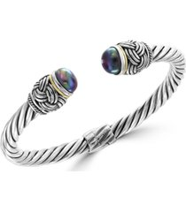 effy black tahitian cultured pearl (8mm) cuff bangle bracelet in sterling silver & 18k gold