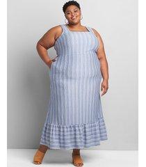 lane bryant women's sleeveless square-neck maxi dress 34/36 chambray/white stripe