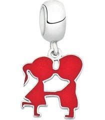 berloque joia em casa casal vermelho prata
