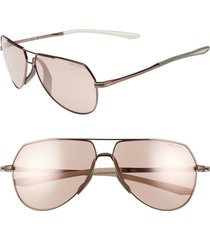 men's nike outrider e 62mm oversize aviator sunglasses - walnut/ golf flash electric