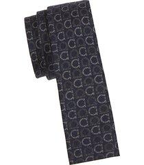 embroidered wool-blend slim tie