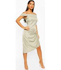 metallic aysmetric slip dress, sage