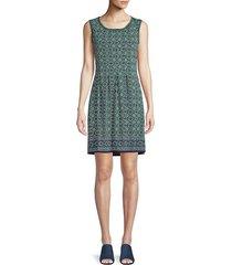 max studio women's geometric-print mini dress - navy indigo - size xs