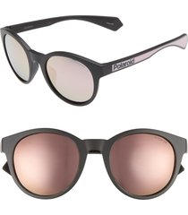 women's polaroid 52mm polarized mirrored round sunglasses -