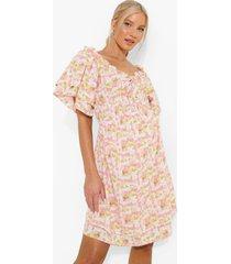 zwangerschap gesmokte jurk met strik en ruches, pink