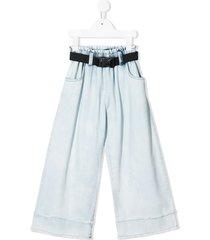 andorine belted wide-leg jeans - blue