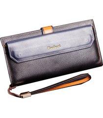 billetera, bolso largo de la cremallera de la cartera-negro