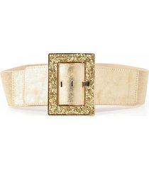 cinturon elastico hebilla forrada oro mailea
