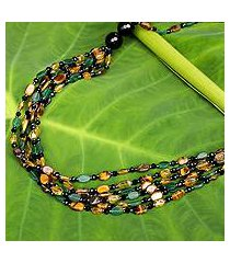 onyx and tiger's eye beaded necklace, 'golden lemon' (thailand)