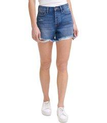 calvin klein jeans cotton frayed denim shorts