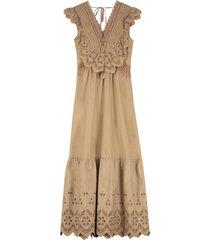 self-portrait cotton broderie sleeveless maxi dress