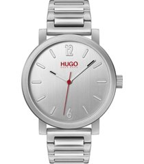 hugo men's #rase stainless steel bracelet watch 42mm