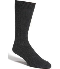 men's nordstrom men's shop cotton blend dress socks, size small - black