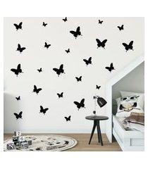 adesivo de parede borboletas pretas 25un cobre 1,5m²