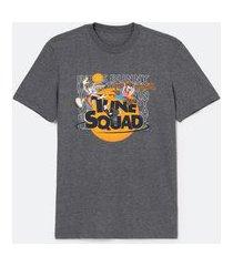 camiseta manga curta em algodão estampa space jam | space jam | cinza médio | eg i