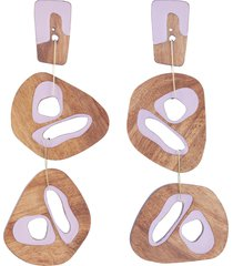 cutout sculptural wood mismatched drop earrings