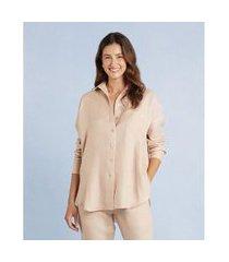camisa glaucia new em linho com manga longa e bolso cor: nude - tamanho: pp