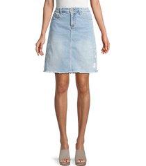 saydi pinstripe embroidered denim skirt