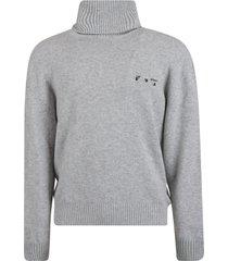 off-white logo cashmere turtleneck sweater