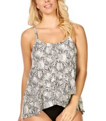 island escape cape town snake printed draped underwire tankini, created for macy's women's swimsuit