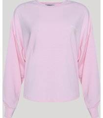 blusão de moletom feminino mindset decote redondo rosa claro