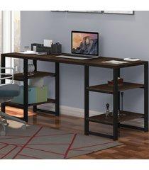 mesa para computador innovare 4 prateleiras preto/castanho/rústico - art panta