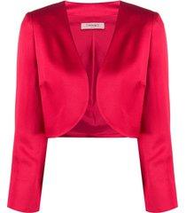 twin-set jaqueta cropped com abertura frontal - vermelho
