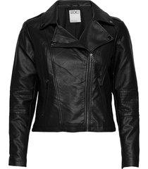 jackets outdoor woven läderjacka skinnjacka svart edc by esprit