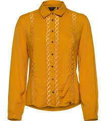 amelie lace shirt långärmad skjorta gul superdry