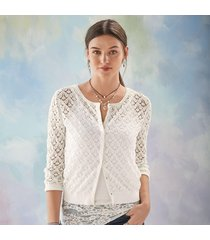 alabaster pointelle cardigan sweater