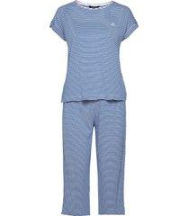 lrl roll cuff capri pj set s/sl pyjamas blå lauren ralph lauren homewear