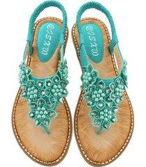 sandalias de verano con punta redonda de flores hechas a mano mujer-verde